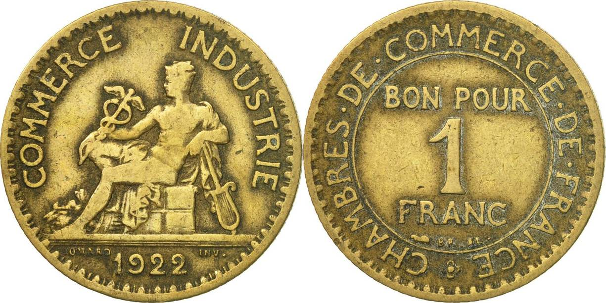Chambre De Commerce Paris Franc 1922 Paris France Coin Chambre De Commerce Paris Ef 40 45