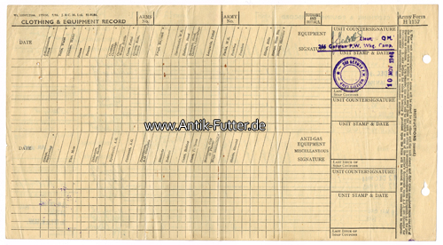 1944-1946 England Army Form H 1157/Clothing  equipment record 2-3