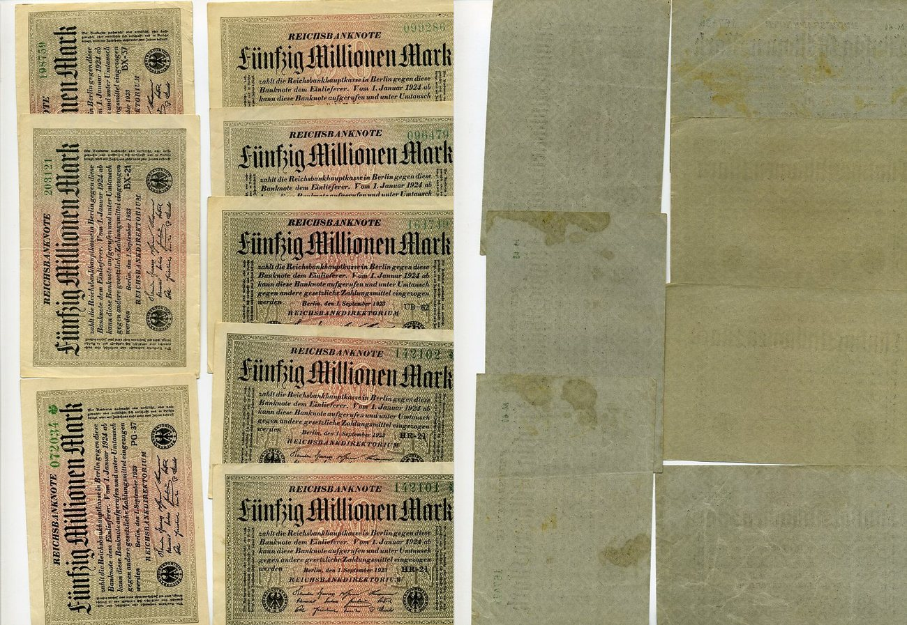 Dt Und Shop Lot 48 X 50 Millionen Mark 1923 Inflation Dt Reich 1919 1924 Lot Of 48 50 Million Mark Mark Banknotes 1923 German Inflation Used
