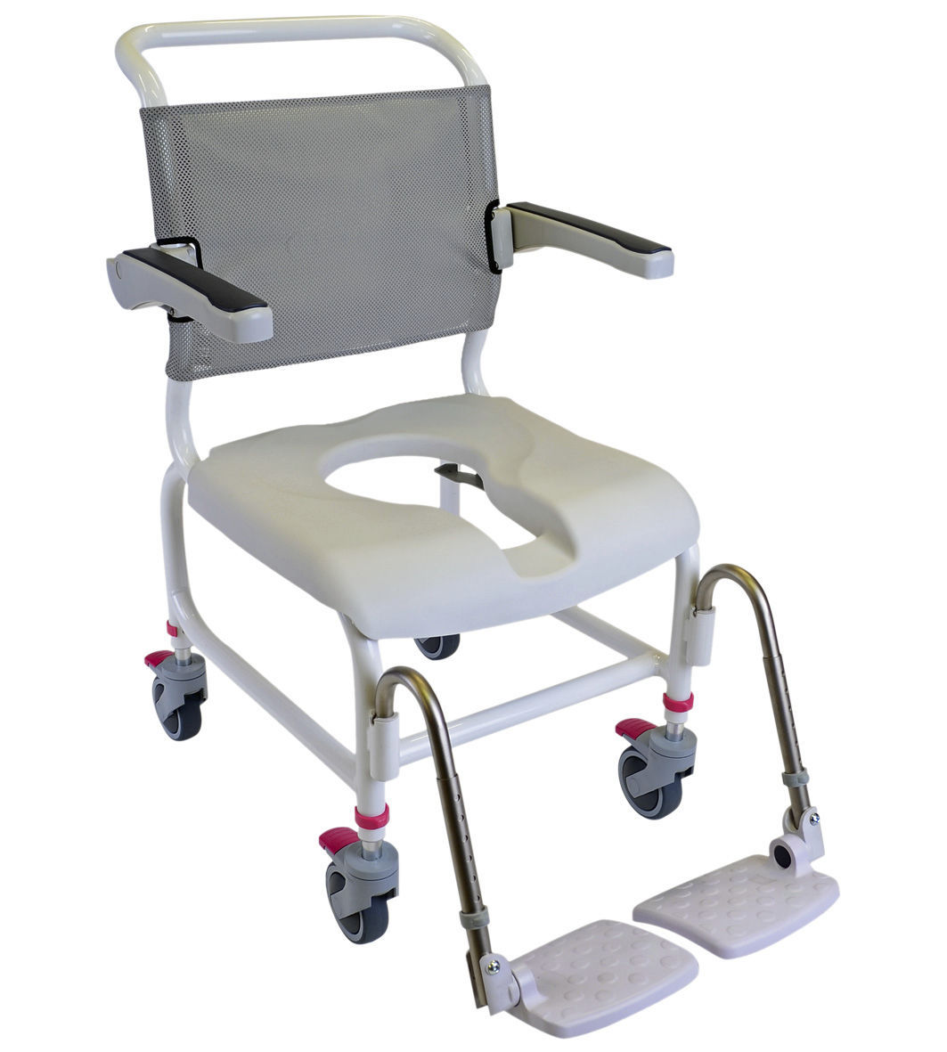 Commode Angle Shower Chair With Armrests On Casters With Cutout Seat