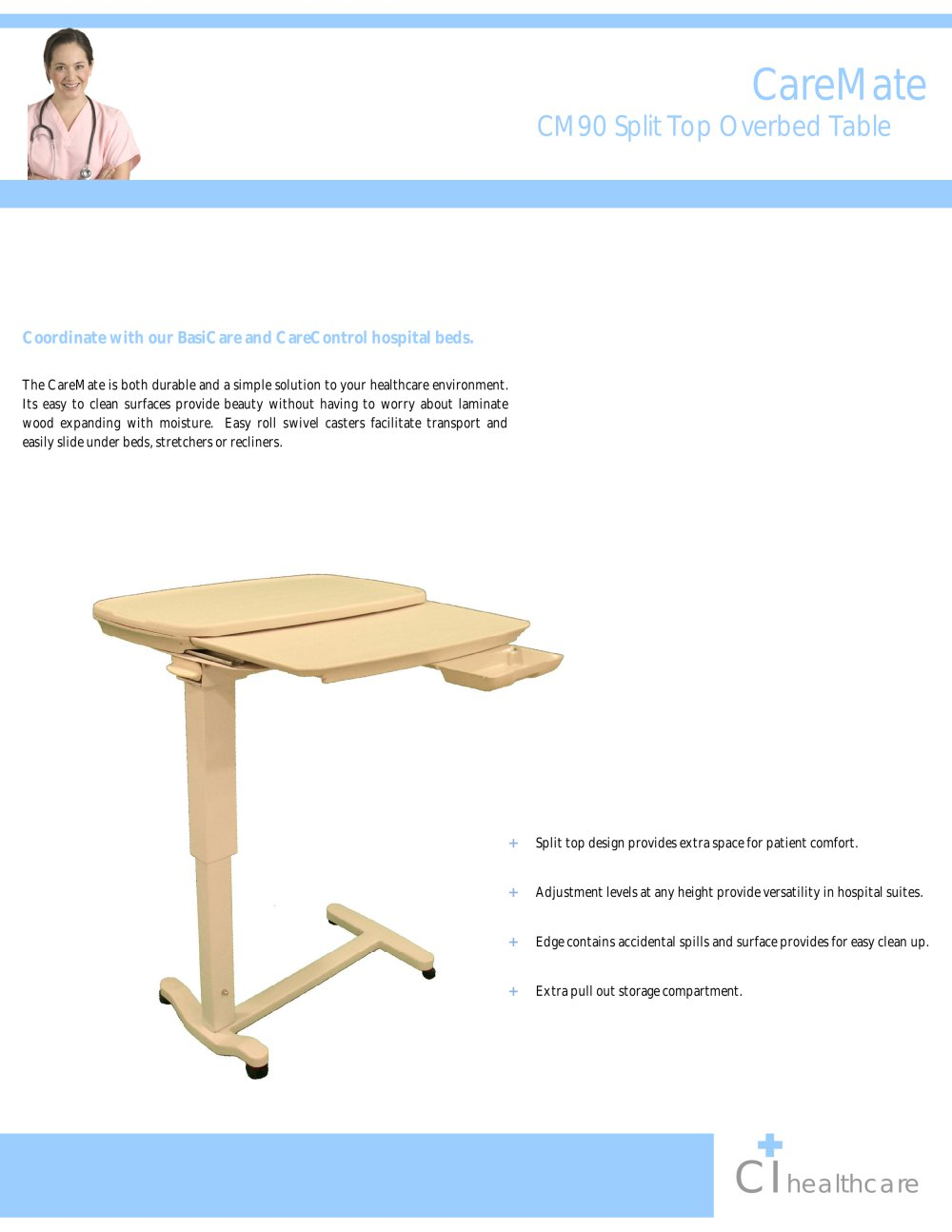 Split top overbed table -  Split Top Overbed Table 1 2 Pages Download