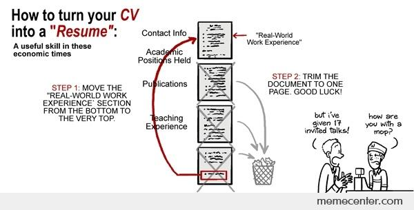 How to turn your CV into a Resume by ben - Meme Center - the resume center