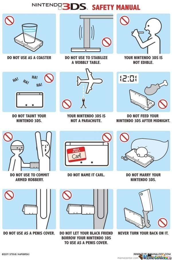 Nintendo 3Ds Safety Manual by SuitonX - Meme Center