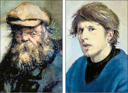 Important works: One of Robert Lenkiewicz's pictures of a tramp called Diogenes, left, and a self portrait