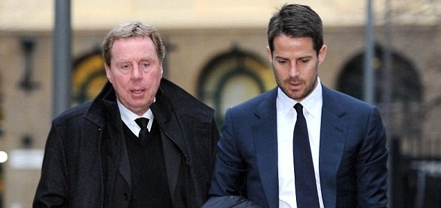 Harry Redknapp arrives with his son, Jamie Redknapp