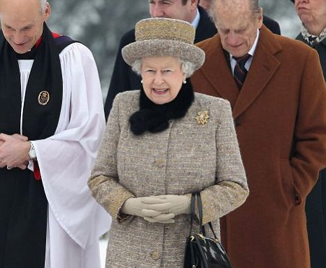 Queen Elizabeth II and Prince Philip, Duke of Edinburgh leave the Sunday Service at West Newton Church