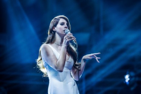 Lana Del Rey performed Blue Jeans on a darkened stage (Picture: BBC)