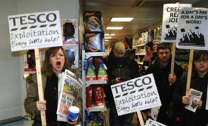Right to Work demonstrators forced Tesco Express to close its doors (PA) 