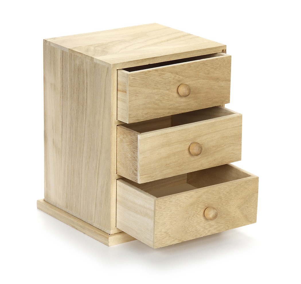 Wooden Drawers Small Three Drawer Wooden Cabinet