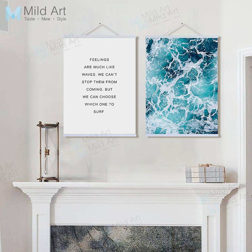 Wall Art Prints And Posters Modern Minimalist Blue Sea Ocean Wave Life Quotes Wooden Framed
