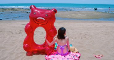 夏天海邊必備|超級Q的小熊軟糖 甜甜圈造型泳圈&沙灘巾「Big mouth」