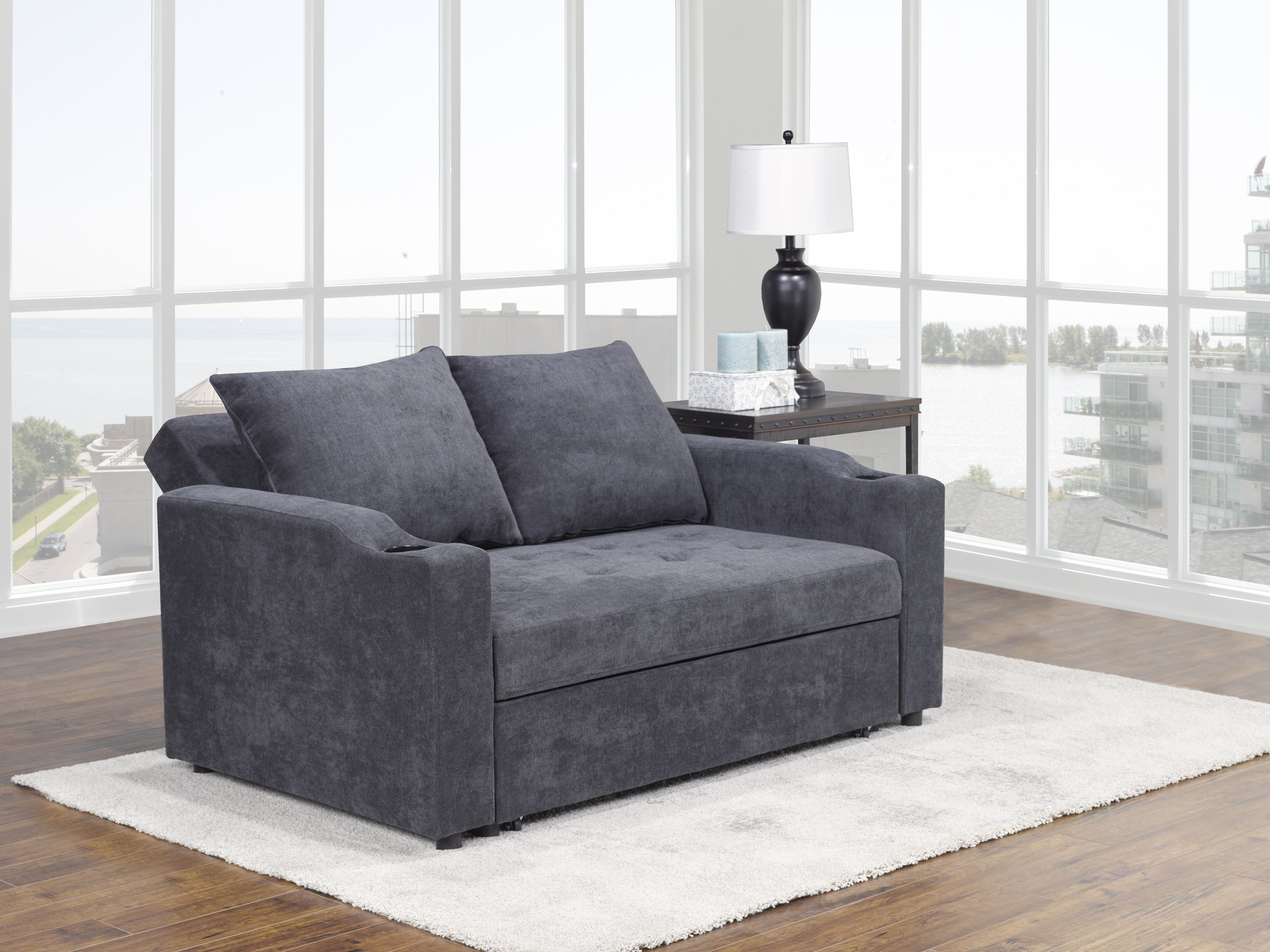 Brassex Fresno Sofa With Pull Out Bed Adj Back Grey Br S 2816dg 3a Modern Furniture Canada