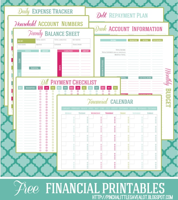 Free printable Financial Management Planners/Trackers - Money Saving - printable personal finance sheets