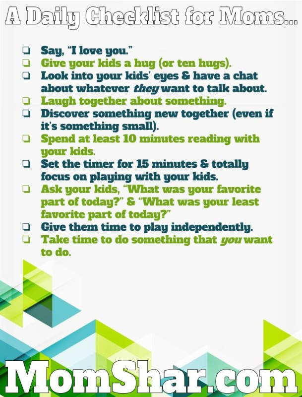 Free Printable Daily Checklist for Moms - Money Saving Mom® - daily checklist
