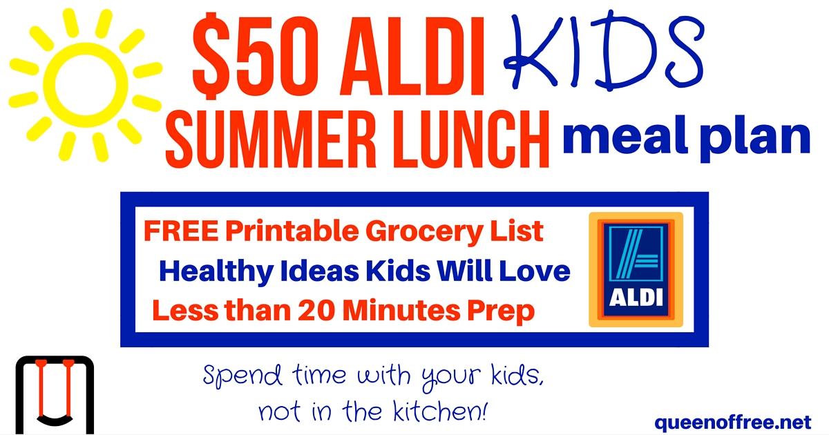 $50 Aldi Kids Summer Lunch Meal Plan - Money Saving Mom®  Money