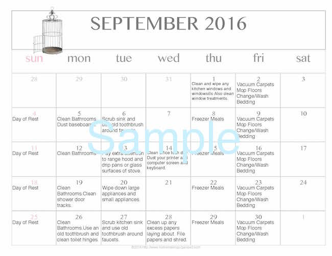 Free Editable Printable September 2016 Cleaning Calendar - Money - printable editable calendar
