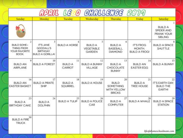 Free Printable LEGO Challenge April Calendar - Money Saving Mom - free calendar printable