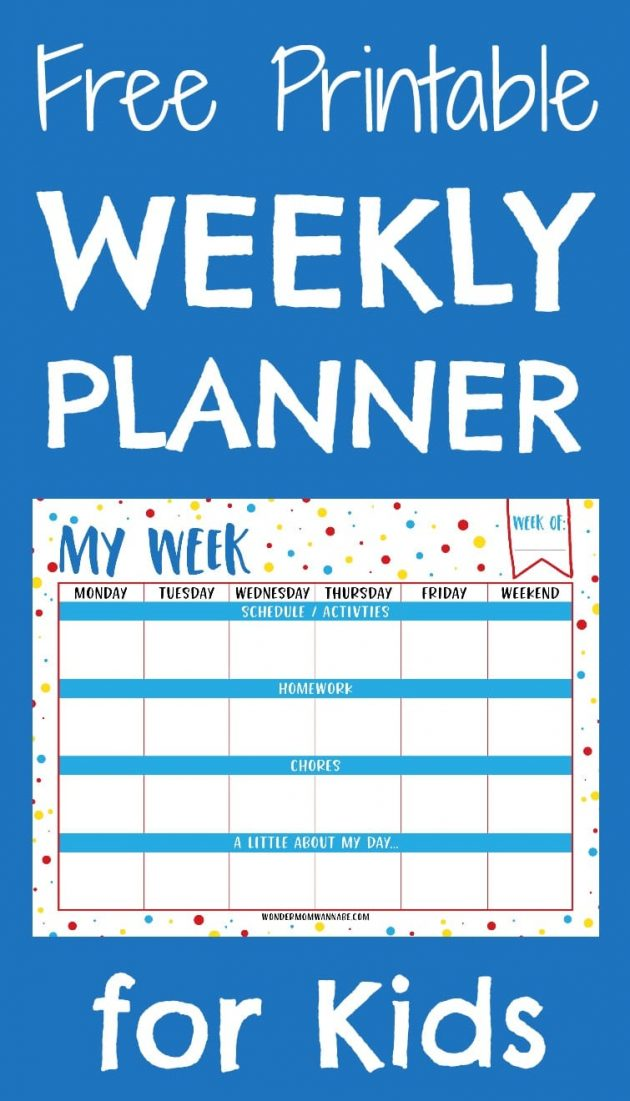Free Printable Weekly Planner for Kids - Money Saving Mom®  Money