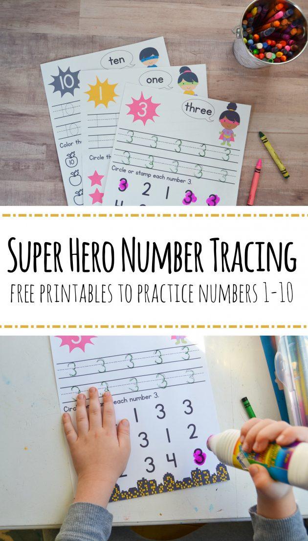 Free Printable Super Hero Preschool Numbers Worksheets - Money