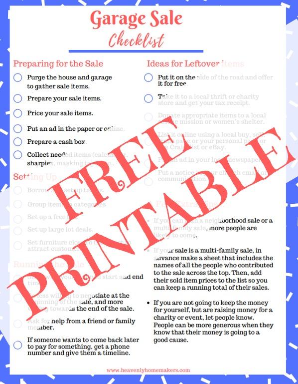 Free Printable Garage Sale Checklist \u2013 Coupons on me