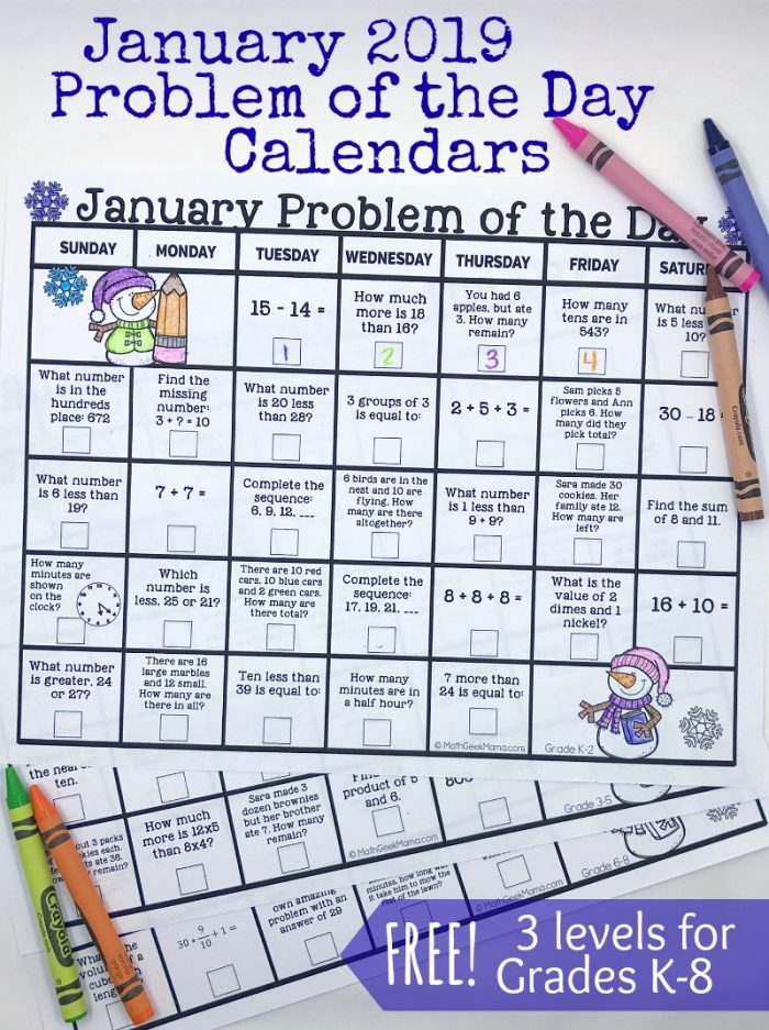 Free Printable Math Problem of the Day January 2019 Calendar - Money