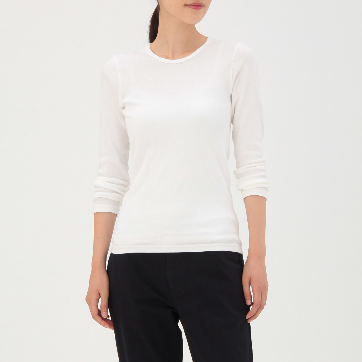 Xs Long Cotton Wool Smooth Crew Neck Long Sleeve T Shirt Lady Xs Off White