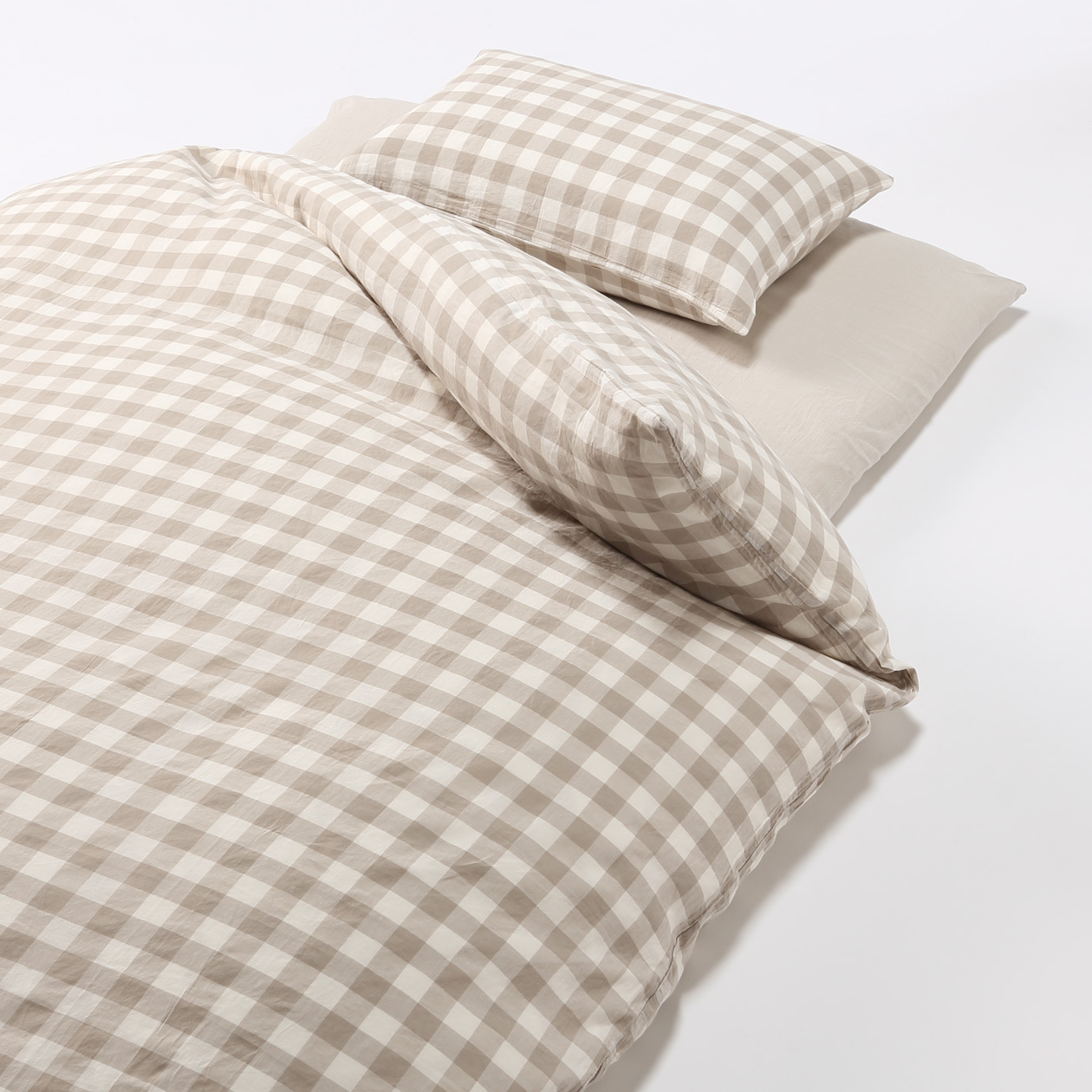 Muji Bed Sheets Cover Set For Futon S Beige Check 150 210cm Muji