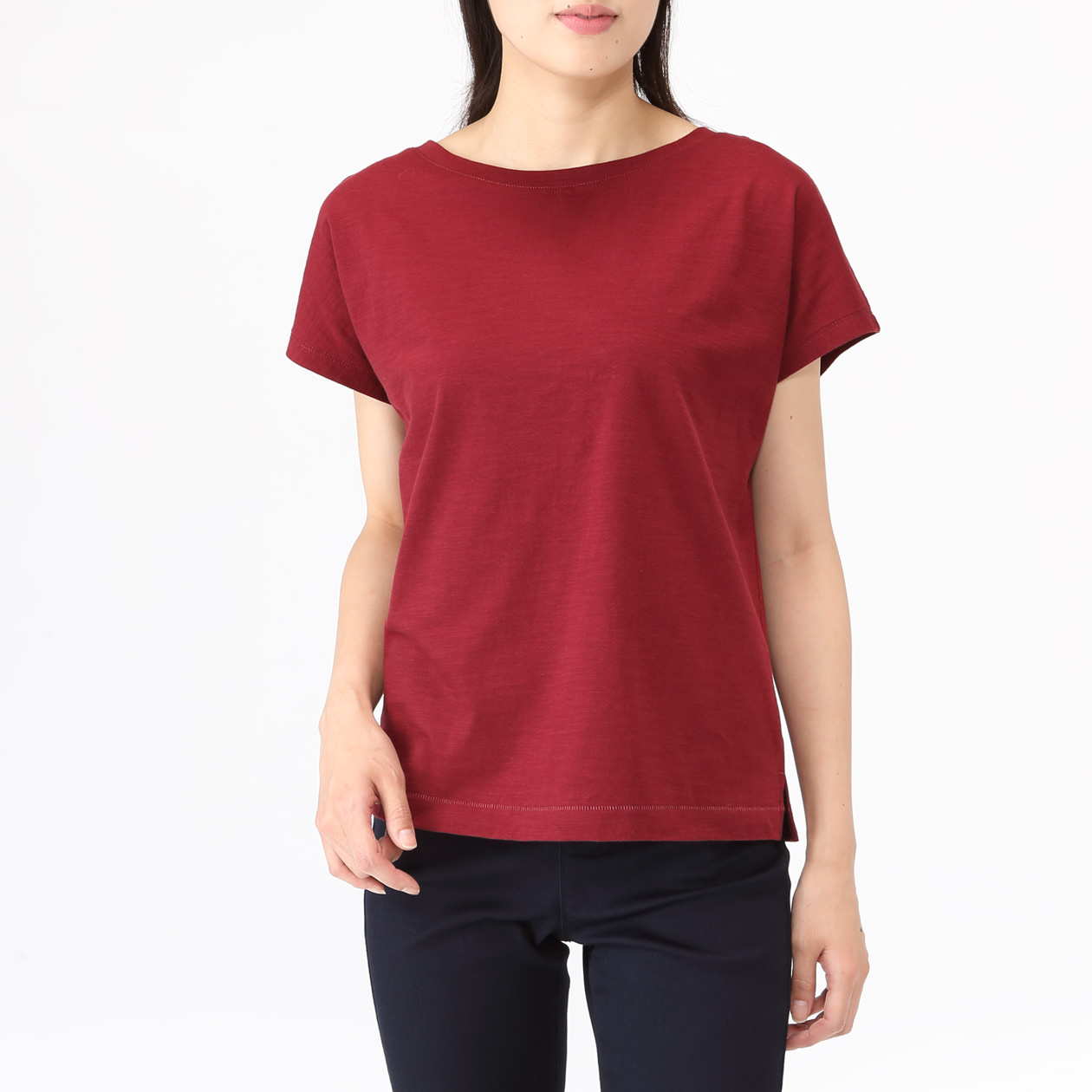 Muji Bordeaux Overseas Limited Ogc Uneven Yarn French Sleeve T Shirt Lady Xl