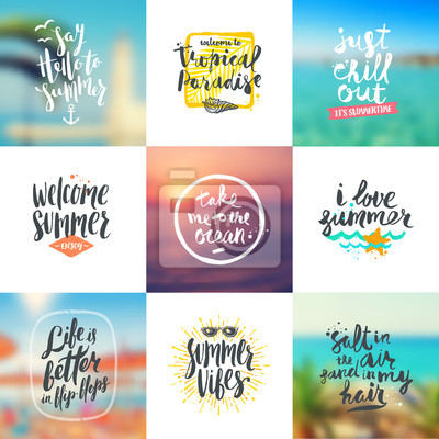 Vector set of summer travel and vacation handwritten calligraphy