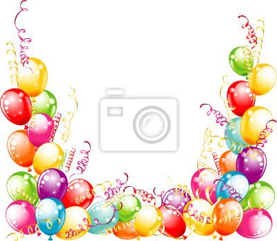 Tarjeta de invitación para cumpleaños diseño globos carteles para