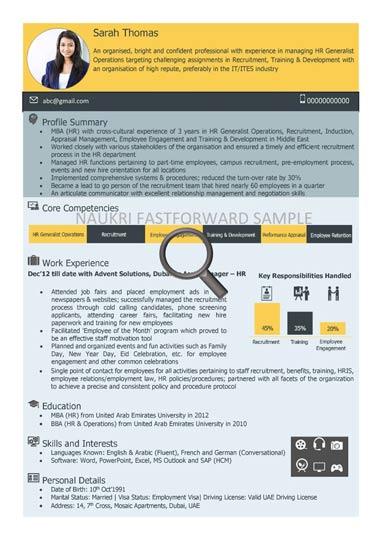 naukri visual resume sample