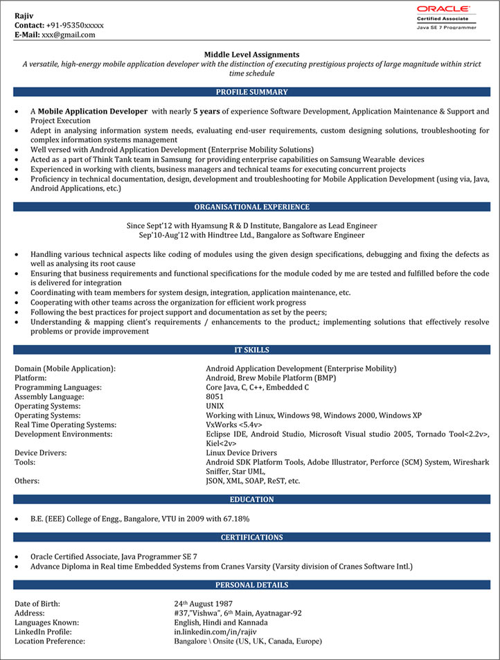 Android Developer Resume Sample IOS Developer Resume \u2013 Naukri - java developer resumes