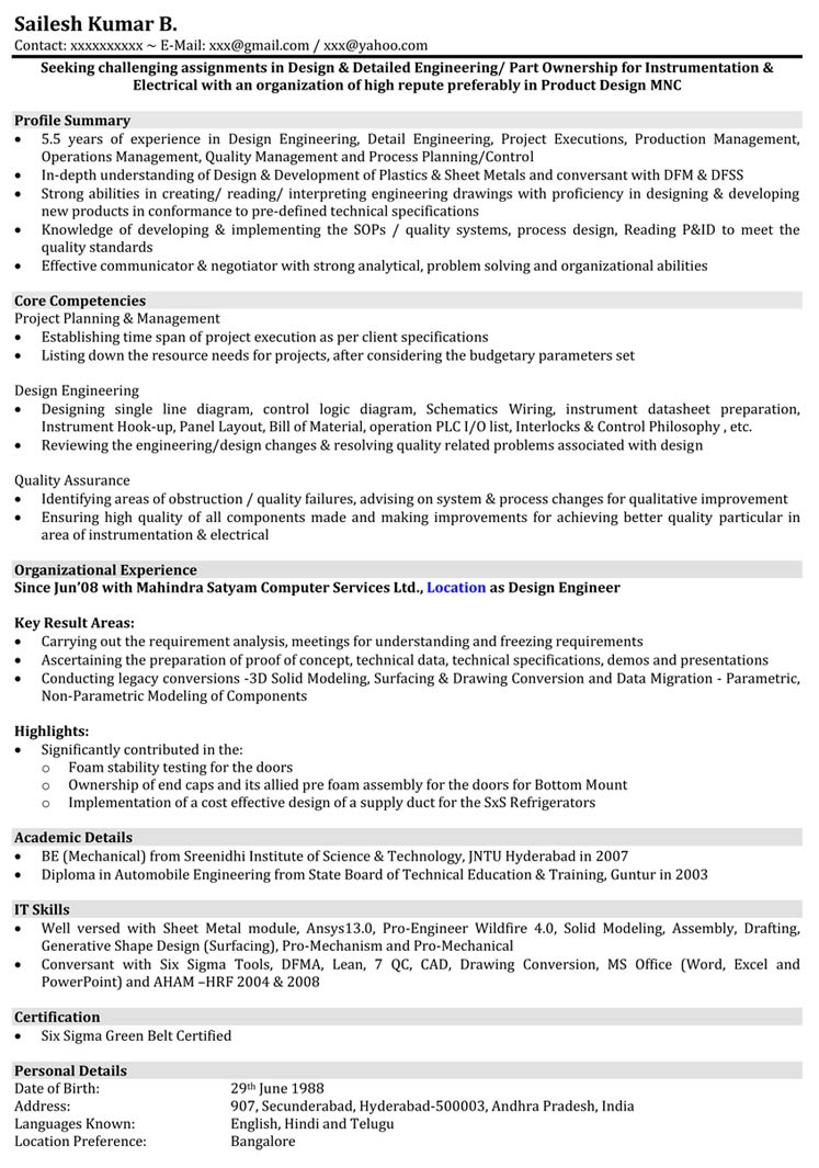 Automobile Engineering For Automobile Resume Samples Mechanical Engineer Resume Format