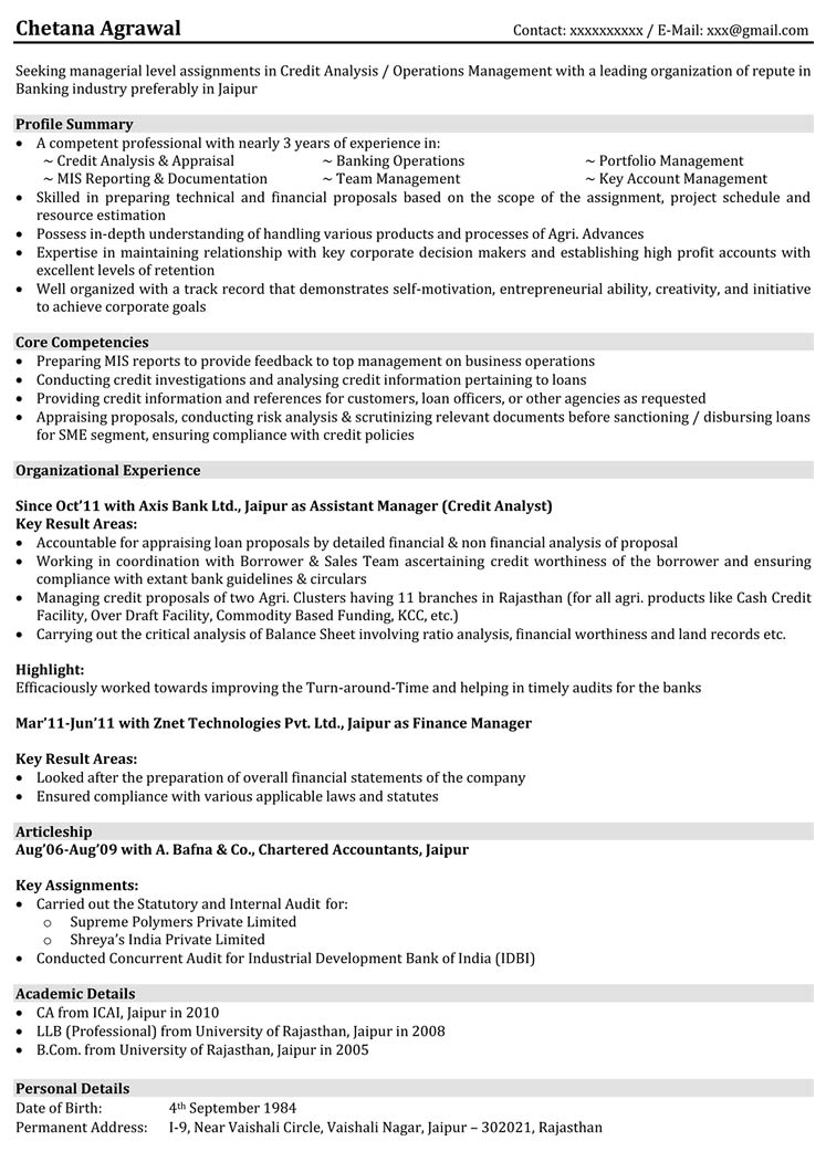 Resume examples for banking jobs