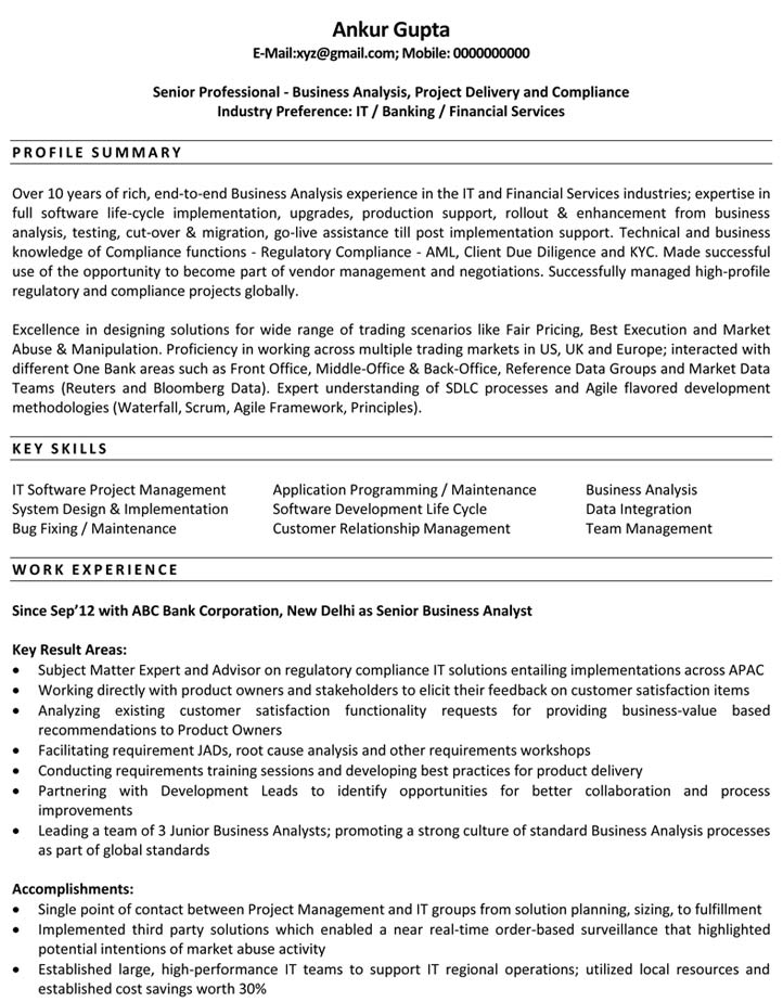Business Analyst Resume Samples Sample Resume for Business Analyst - ba sample resume