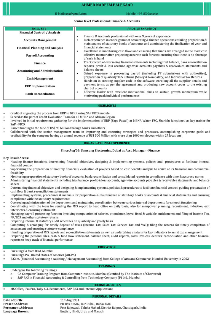 CA Resume Samples Chartered Accountant Resume Format - Naukri