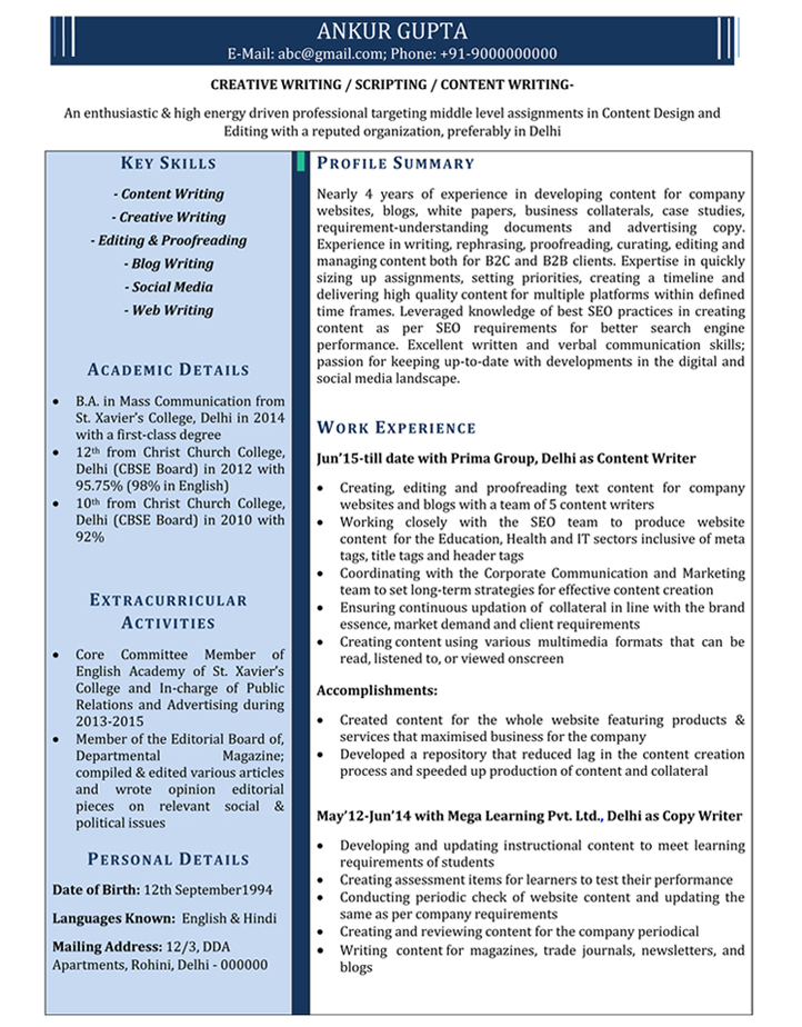 Content Writer Resume Samples Sample Resume for Content Writer - Samples Of Cv Format