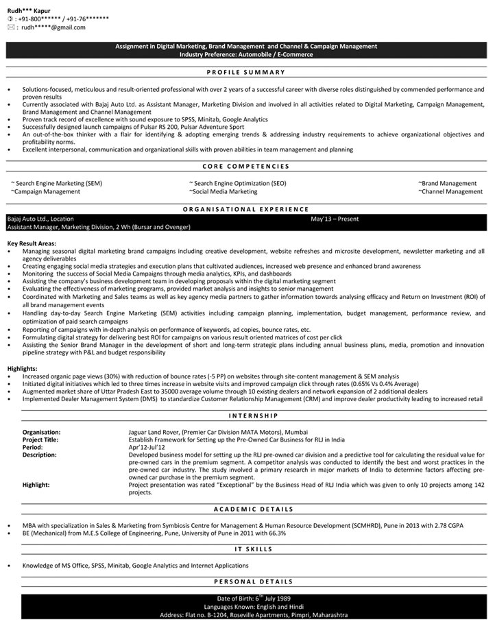 Digital Marketing Resume Samples Sample Resume for Digital