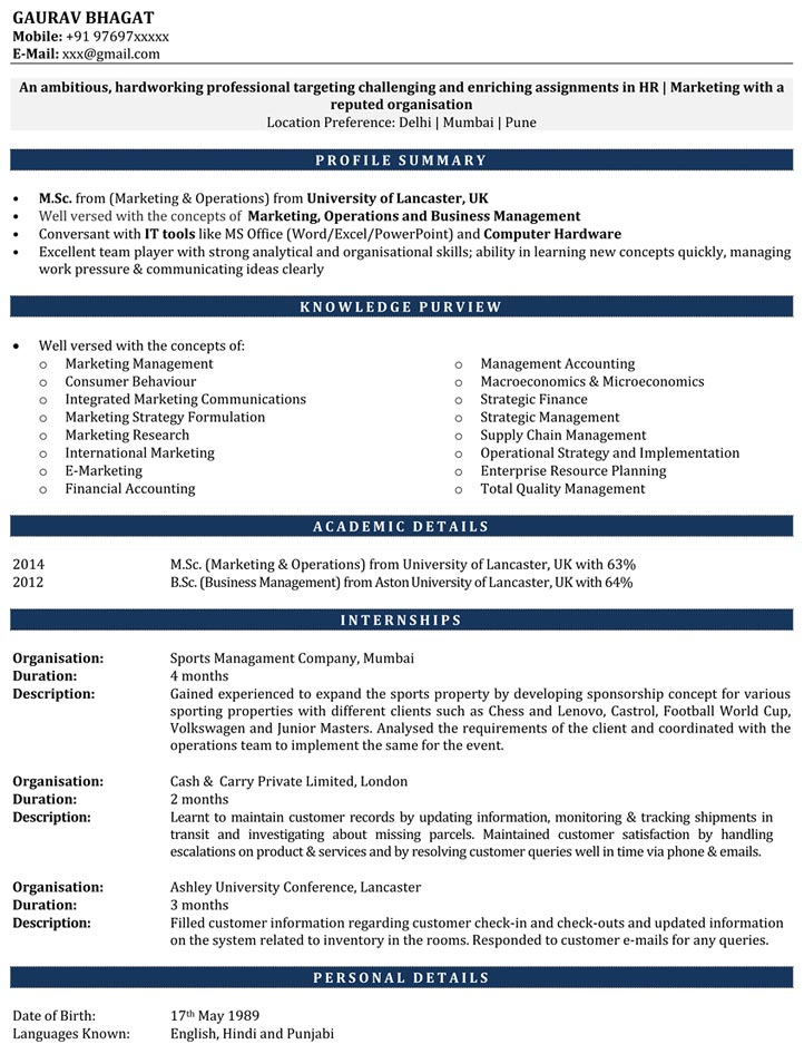 Internship Resume Samples Resume for Internship CV For - Sample Resume For An Internship
