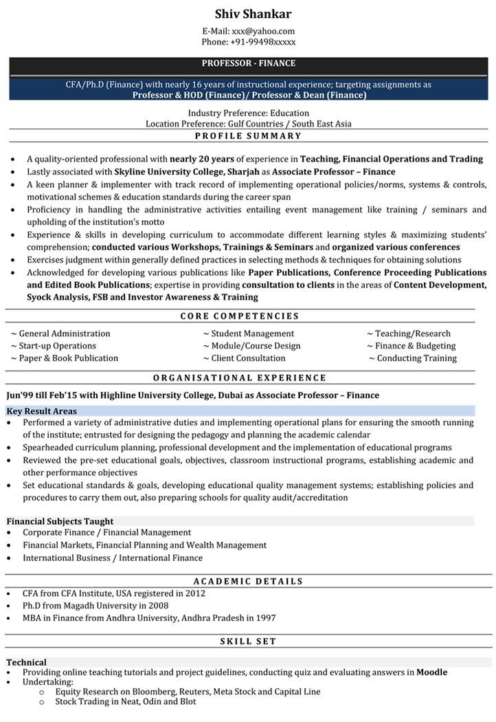 resume samples for engineering lecturer