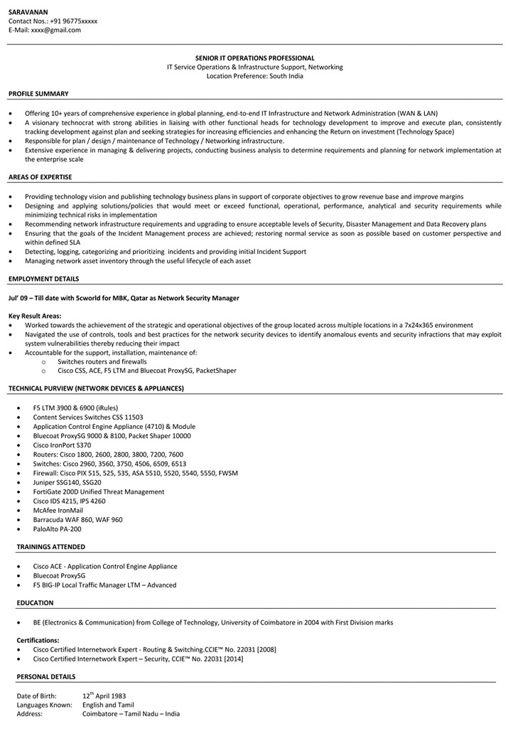Network Engineer Resume Sample Networking Resume \u2013 Naukri