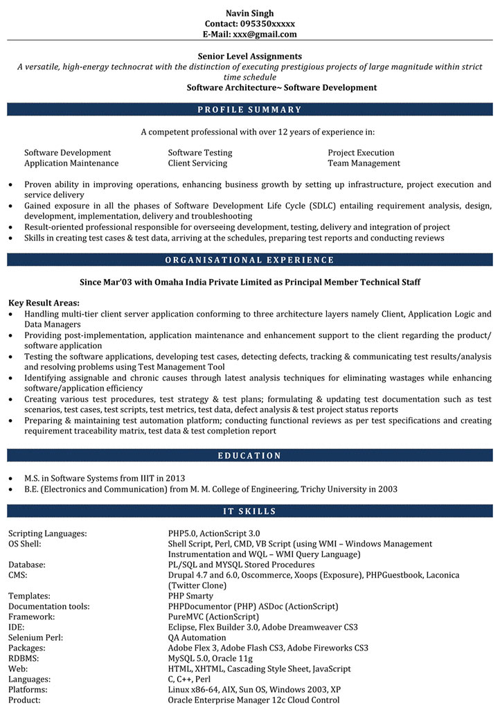 PHP Resume Sample PHP Developer Resume Sample Resume for PHP