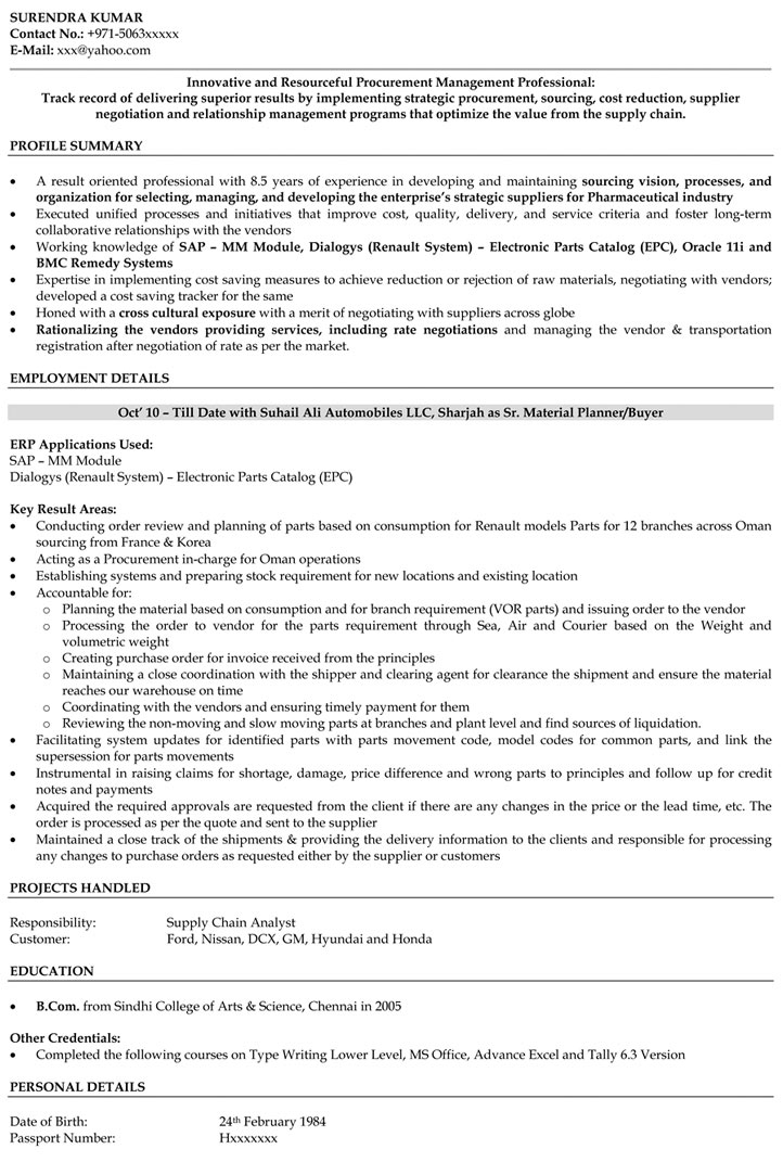 Purchase Manager Resume Samples Purchase Engineer Resume - Naukri