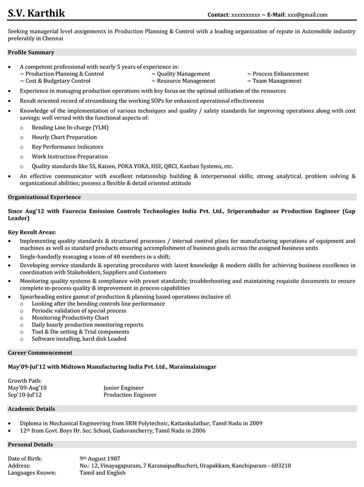 resume title for production engineer