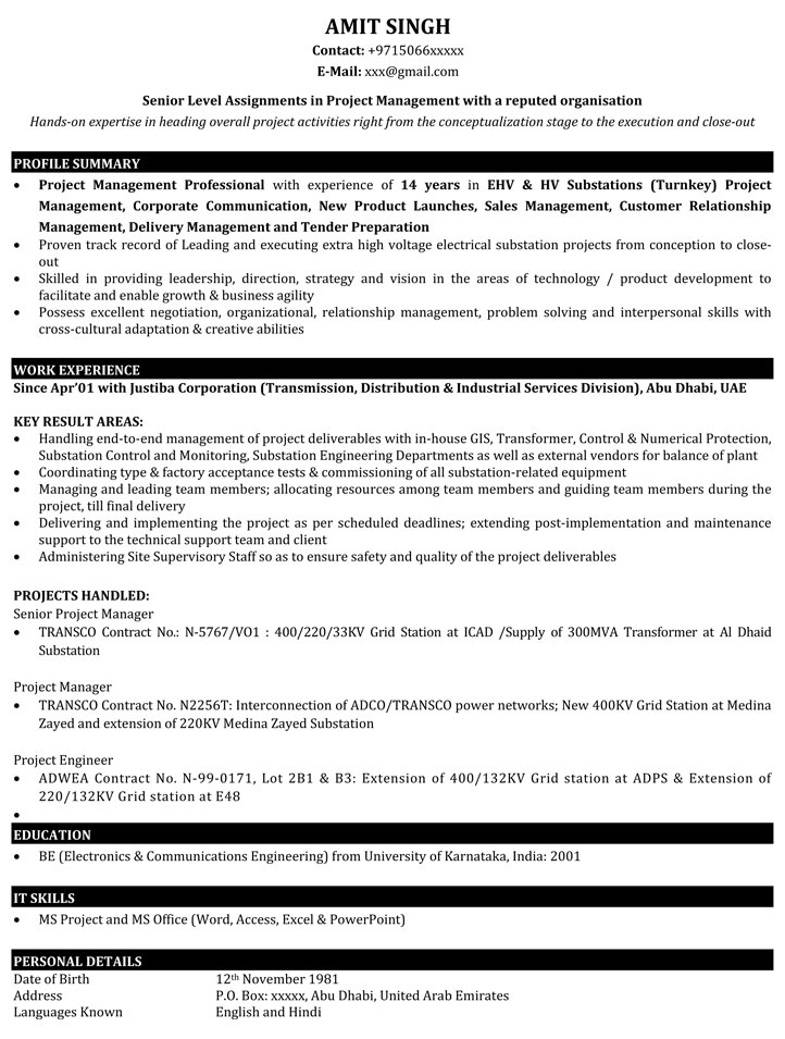 Project Manager Resume Samples Sample Resume for IT Project - Project Manager Resume Format