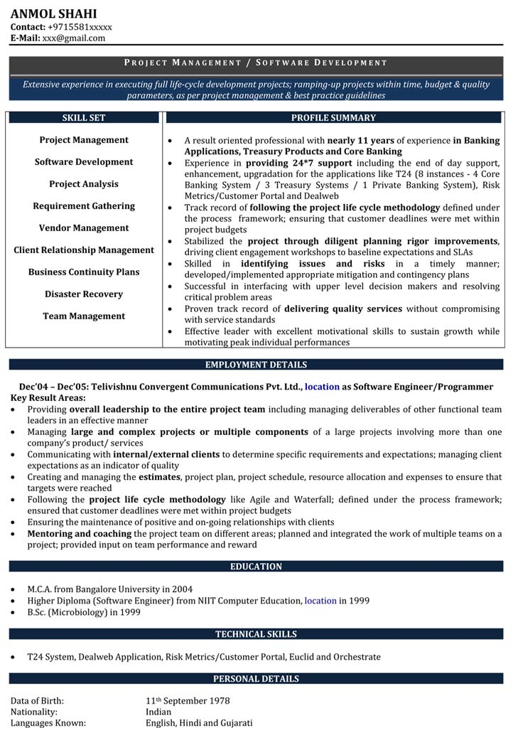 Software Developer Resume Samples Sample Resume for Software - resume format for experienced software developer
