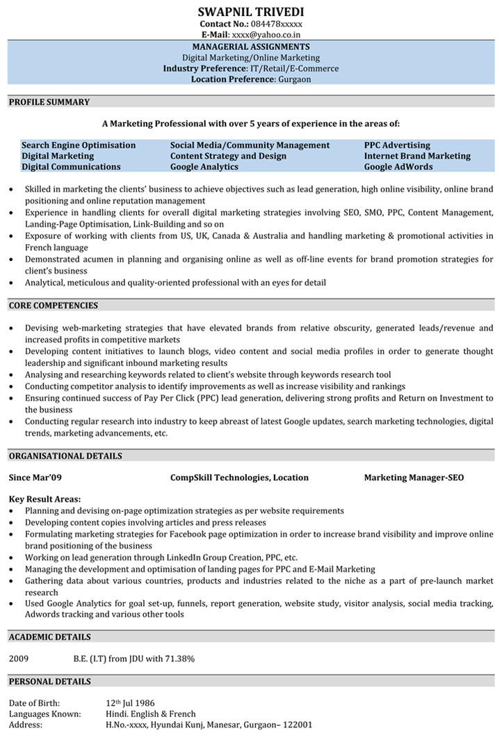 SEO Resume Samples Sample Resume for SEO - Naukri - sample resume format for freshers