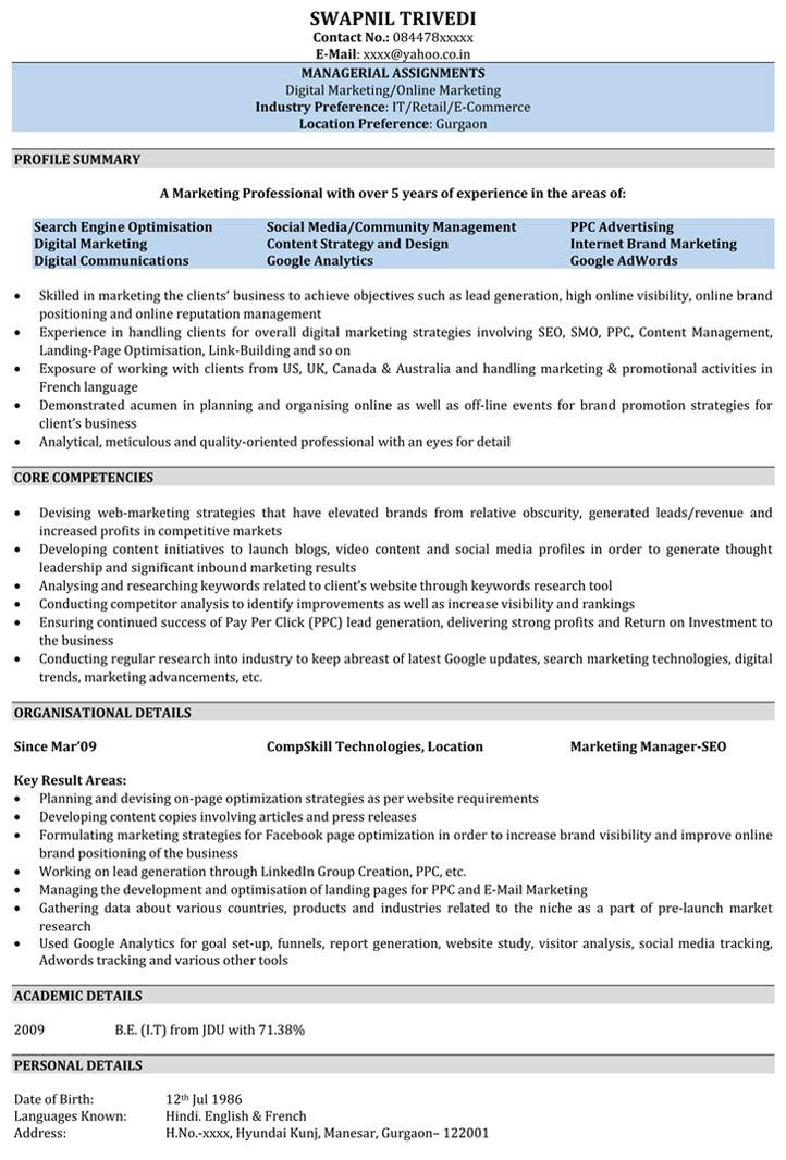 SEO Resume Samples Sample Resume for SEO - Naukri