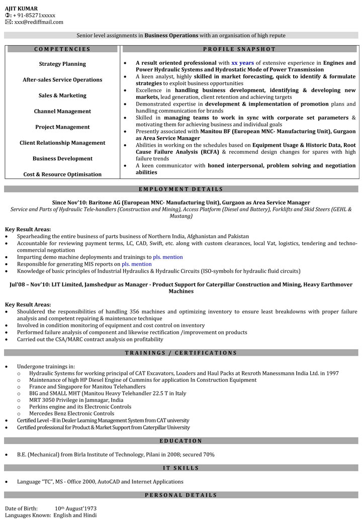 Sales Engineer Resume Samples Sales Manager Resume Format - Naukri