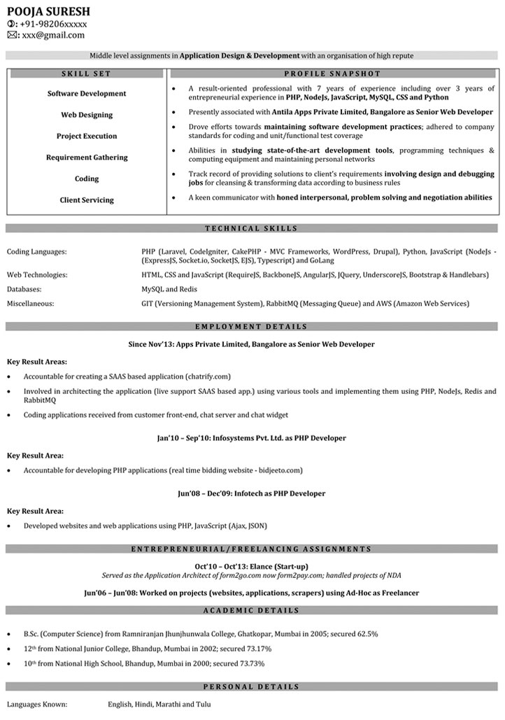 Web Developer Resume Samples Sample Resume for Web Developer - Experience On Resume Examples